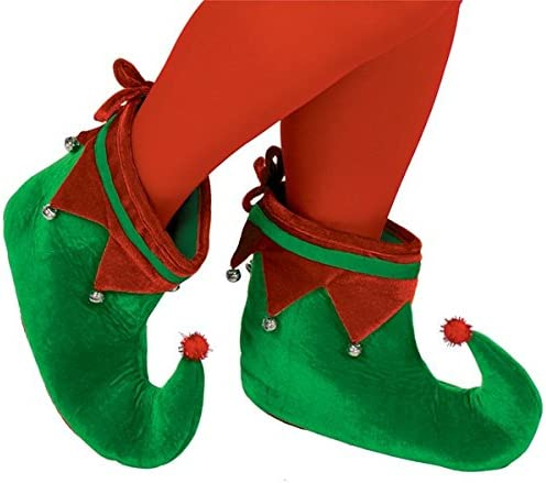 GREEN, 2 Deluxe Christmas Pointed Elf Shoes