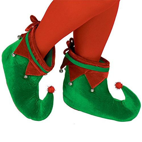 Amscan Christmas Elf Shoes, Red & Green, Adult (1 pair)