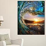 Design Art Colored Ocean Waves Falling Down Modern Seashore Canvas Art, 30x40''