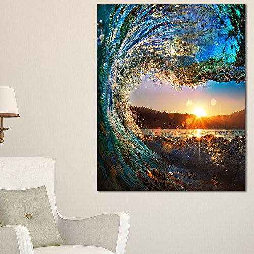 Design Art Colored Ocean Waves Falling Down Modern Seashore Canvas Art, 30x40'' by Design Art