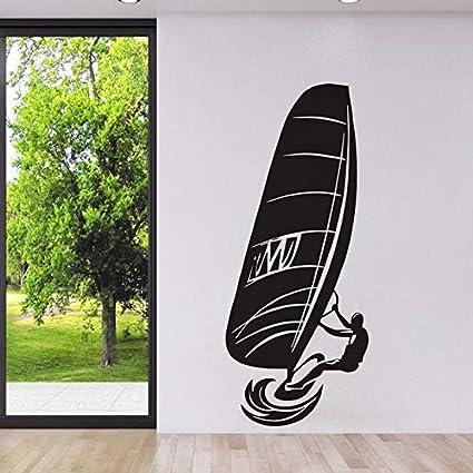 Ajcwhml Windsurf Deportes acuáticos Extremos Pegatinas de Pared decoración para el hogar Sala de Estar Wallpaper Adhesivo extraíble calcomanías de Vinilo 128x53cm: Amazon.es: Hogar