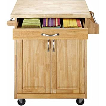 Kitchen Cart Rolling Island Storage Unit Cabinet Utility Portable Home  Microwave Wheels Butcher Wood Top Drawer Shelf (Natural)