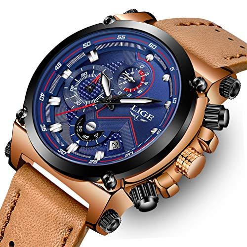 LIGE Mens Watches Fashion Sports Analog Quartz Watch Brown Leather Chronograph Men Military Waterproof Date Black Watch