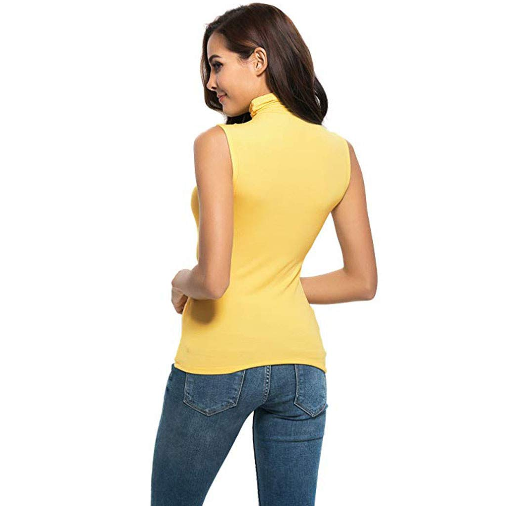 Womens Sleeveless Tops Slim Fit Mock Turtleneck Stretch Comfy Basic T Shirt Tank Shirt Pullover Sweater