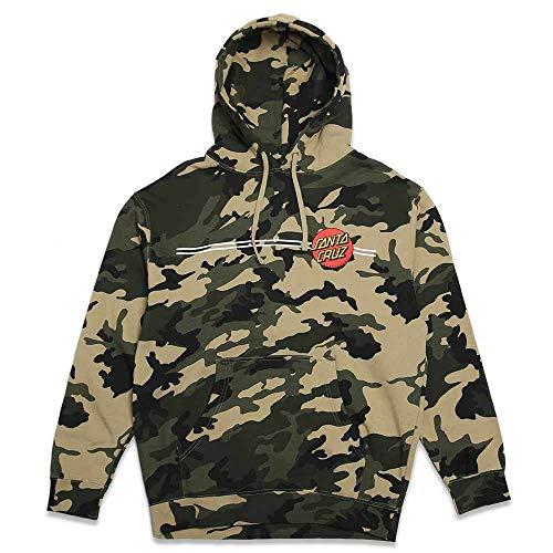 Santa Cruz Skateboards Classic Dot Hooded Pullover Sweatshirt (Army Camo, Large)