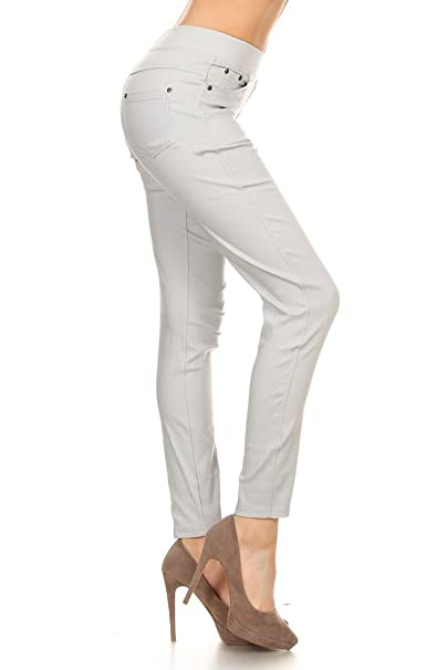 9503cb5198f Leggings Depot Women s Essential Ultra Soft Cotton Skinny Jeggings Colored  Pants at Amazon Women s Clothing store
