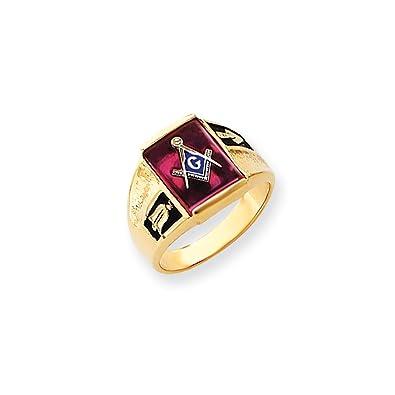 Top 10 Jewelry Gift 14k Men's Synthetic Ruby Masonic Ring|Amazon com