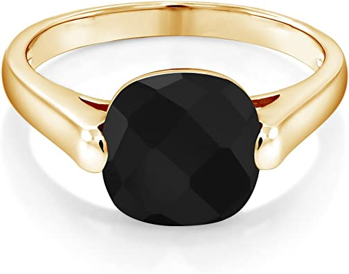 Birthstone Ring Sterling Silver or Yellow Gold Plated Silver Onyx Ring