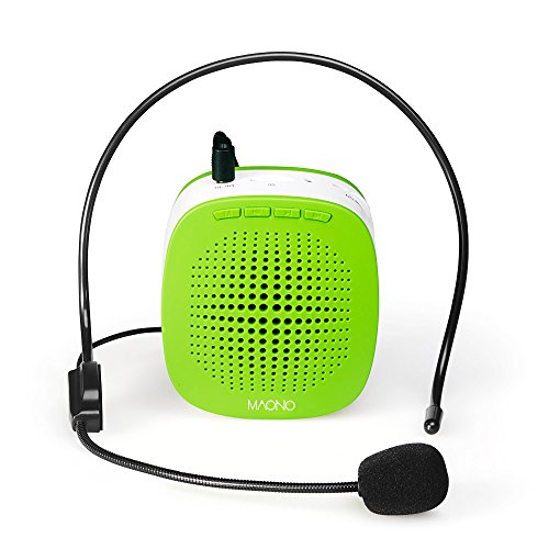 Voice Amplifier, MAONO AU-C03 Mini Rechargeable PA system (1020mAh) with Wired Microphone for Teachers, Presentations, Coaches, Tour Guides, Market Promotion (Green)