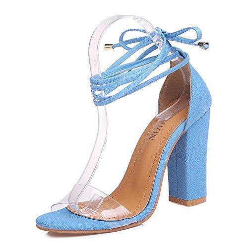 Toe Cheville Sandales Femelle Talons Femme Hauts Chaussures Sandales bleu Femme Peep Tingtingbin fête Sandales ISzqxw5ZI