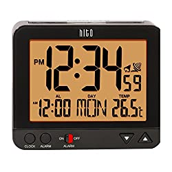 HITO 3.8 Atomic Self-setting Bedside Desk Travel Alarm Clock w/ Date, Indoor Temp, Week, Smart Auto Night Light- Battery Operated