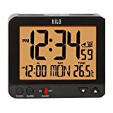 "HITO 3.8"" Atomic Self-setting Bedside Desk Travel Alarm Clock w/ Date, Indoor Temp, Week, Smart Auto Night Light- Battery Operated"