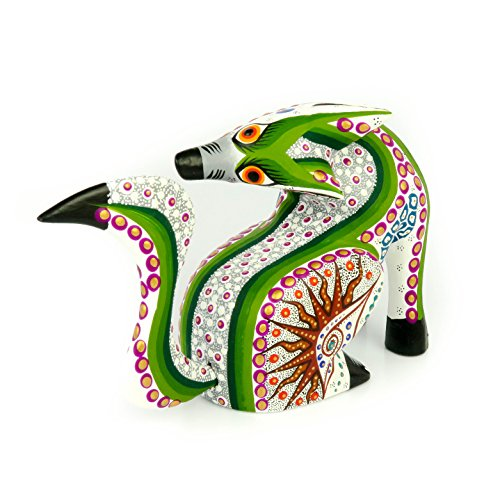 - WHITE COYOTE Oaxacan Alebrije Wood Carving Mexican Folk Art Animal Sculpture Painting
