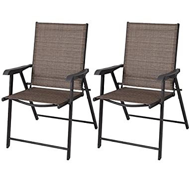 Goplus® 2 Outdoor Patio Folding Chairs Furniture Camping Deck Garden Pool Beach