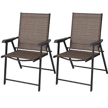 Goplus® 2 Outdoor Patio Folding Chairs Furniture Camping Deck Garden Pool Beach