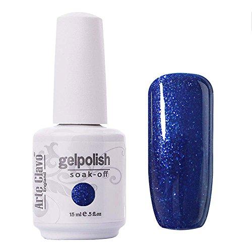 Arte Clavo Glitter Dark Blue Nail Gel Polish Harmless Resin Professional Lacquer Soak Off Nail Art UV Lamp & LED 15ml (Enamel Blue Due)