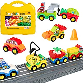 burgkidz 63 Pieces Building Block Toy Cars with Suitcase and 2 Pack Road Baseplate - 8 Different Models Toddler Vehicle Building and Construction Play Gift Set ¡­