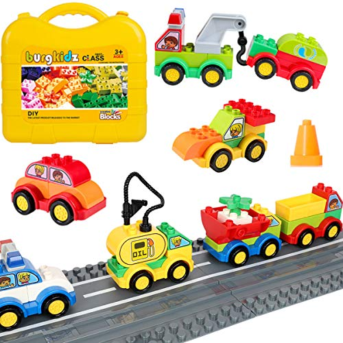 burgkidz 63 Pieces Building Block Toy Cars with Suitcase and 2 Pack Road Baseplate - 8 Different Models Toddler Vehicle Building and Construction Play Gift Set
