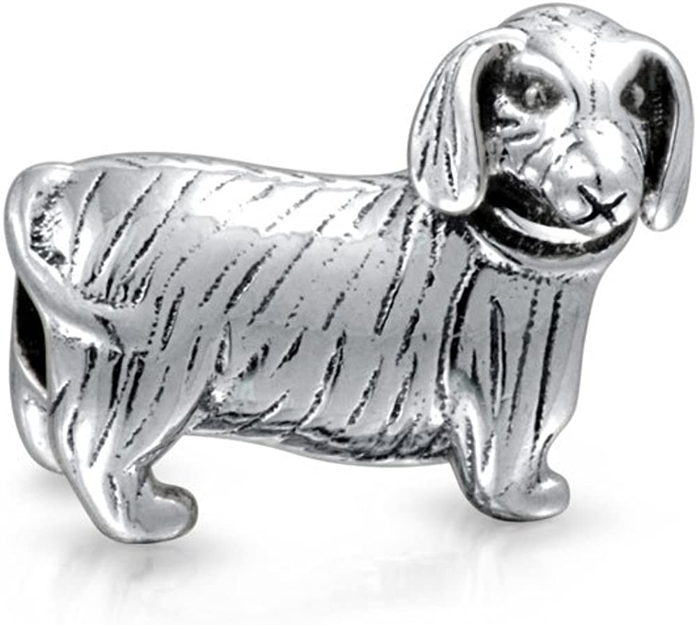 Hot Dog Dachshund Puppy Pet Lover Charm Bead For Women For Teen 925 Sterling Silver Fits European Bracelet