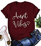 SUPEYA Women Aunt Vibes Heart Letter Print Shirt Short Sleeve Casual Tops Blouse