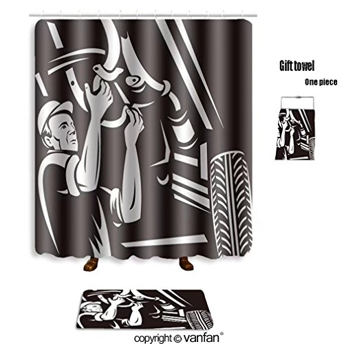 vanfan bath sets with Polyester rugs and shower curtain vector illustration of a car mechanic working shower curtains sets bathroom 48 x 78 inches&23.6 x 15.7 inches(Free 1 towel and 12 hooks)