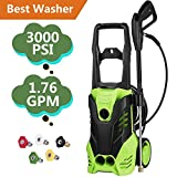 Tomasar Electric Power Pressure Washer 3000 PSI 1.8GPM High Pressure Washer Cleaner Machine 5 Quick-Connect Spray Nozzles (3000-PSI) For Sale