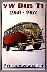 "VW Volkswagen Bus T1 1950 - 1967 Artwork by Klaus Trommer nostalgic 3D embossed & domed strong Metal Tin Sign 7.87"" x 11.81"" Inches"