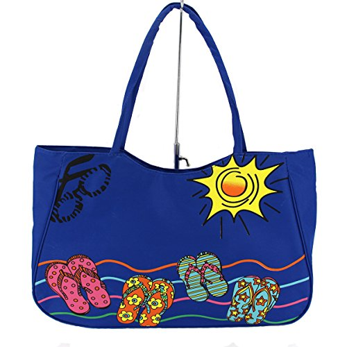ZX-Boutique Large Size Women Shoulder Tote Shopping Beach Bag with Zipper Top,Blue (Bag Hawaii)