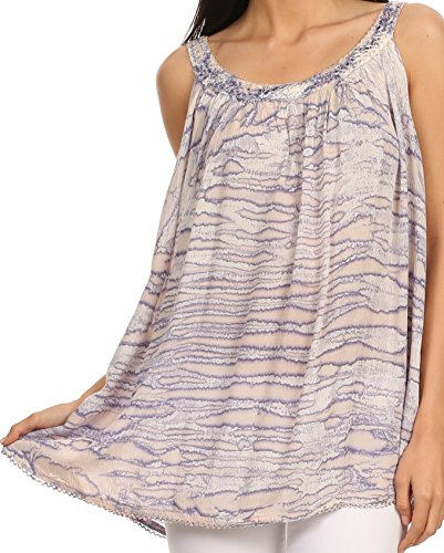 (Sakkas 11628 - Rachel Verigated Embroidered Neck Picot Trim Tank top - Purple - OS)