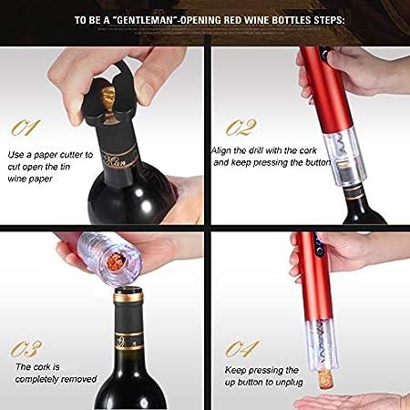 HH- Abrebotellas Juego de Abridor de Vino Recargable USB de 7 Piezas, Abridor de Sacacorchos Eléctrico Automático para Botellas de Vino para Inauguración de La Casa