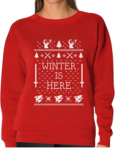Christmas Is A Coming - TeeStars - Winter Is Here Ugly Christmas Sweater Women Sweatshirt Small Red