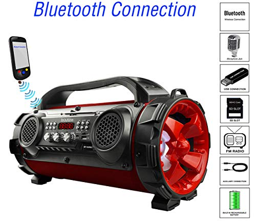 strong Boytone BT-50RD Portable Bluetooth Boombox Speaker, Indoor/Outdoor 2.1 Hi-Fi Cylinder Loud Sound Built-in 5.25