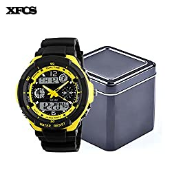 XFCS Waterproof Wrist Digital Automatic Watches For Men Digitais Watch Running Mens Man Digitales Clock(With Retail Metal Box)-All Yellow