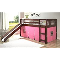 Twin Mission Pink Tent Loft Bed with Slide