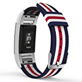 MoKo Fitbit Charge 2 Band , Fine Woven Nylon Adjustable Replacement Strap + Connector for 2016 Fitbit Charge 2 Heart Rate + Fitness Wristband, Wrist Length 5.39''-8.66'', Blue & White & Red