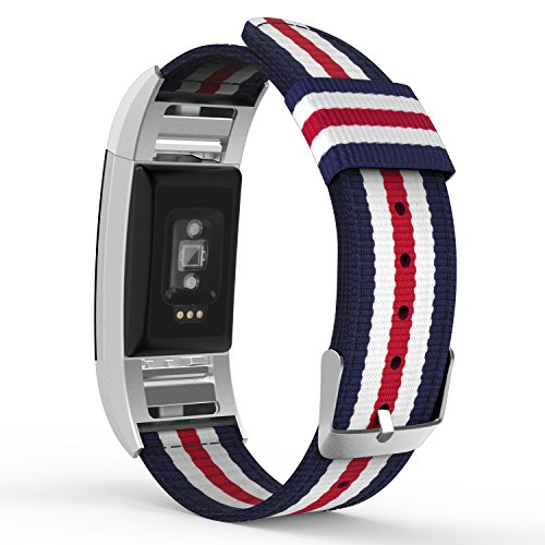 MoKo Fitbit Charge 2 Band , Fine Woven Nylon Adjustable Replacement Strap + Connector for 2016 Fitbit Charge 2 Heart Rate + Fitness Wristband, Wrist Length 5.39''-8.66'', Blue & White & Red by MoKo