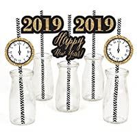 Set of 24 2019 New Years Eve Party Striped Decorative Straws