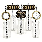 Big Dot of Happiness New Year's Eve - Gold Paper Straw Decor - 2019 New Years Eve Party Striped Decorative Straws - Set of 24