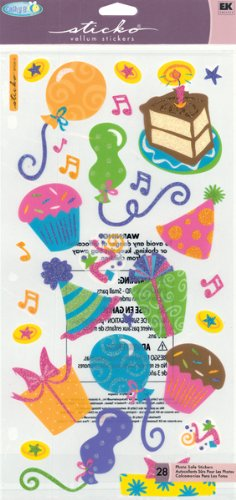 EK Success Sticko Cathy B. Vellum Stickers 6-1/4 Inch by 12-1/4 Inch Sheet, Birthday Bash