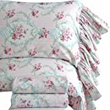 Queen's House Pink Roses Print Bed Sheet Set for Girls 4-Piece Full Size-Style M