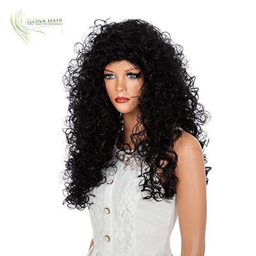 ENJOY THE DIFFERENCE Curly Hair Woman Party Wig White Black and Ginger for Halloween and Daily use Merida Gypsy Drag Queen -