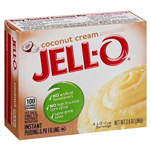 JELL-O Instant Coconut Cream Pudding & Pie Filling Mix (3.4 oz Boxes, Pack of 6)