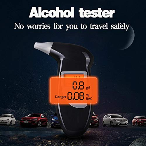 Negro ZengBuks Quick Response Professional LCD Alcohol Tester 68s Detector Digital de Alcohol alcohol/ímetro Police Alcotester