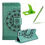 Rope Leather Case for iPhone 6S,Strap Wallet Case for iPhone 6,Herzzer Bookstyle Classic Elegant Mandala Flower Pattern Stand Magnetic Smart Leather Case with Soft Inner for iPhone 6/6S 4.7 inch + 1 x Free Green Cellphone Kickstand + 1 x Free Green Stylus