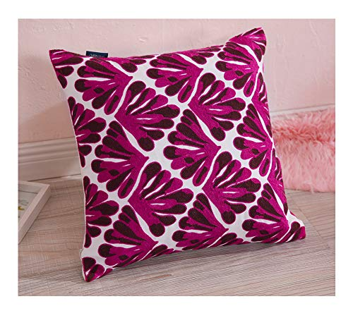 Aitliving Decorative Couch Pillow Cover Cotton Canvas 1pc Floral Leaf Embroidered Throw Pillow Cover Cushion Case Tropical Plant Purple/Brown and White Cotton Base 17x17 inch,43x43cm