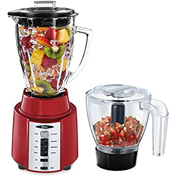 Oster Rapid Blend 8-Speed Blender with Glass Jar and Bonus 3-Cup Food Processor, Metallic Red, BCCG08-RFP-NP9