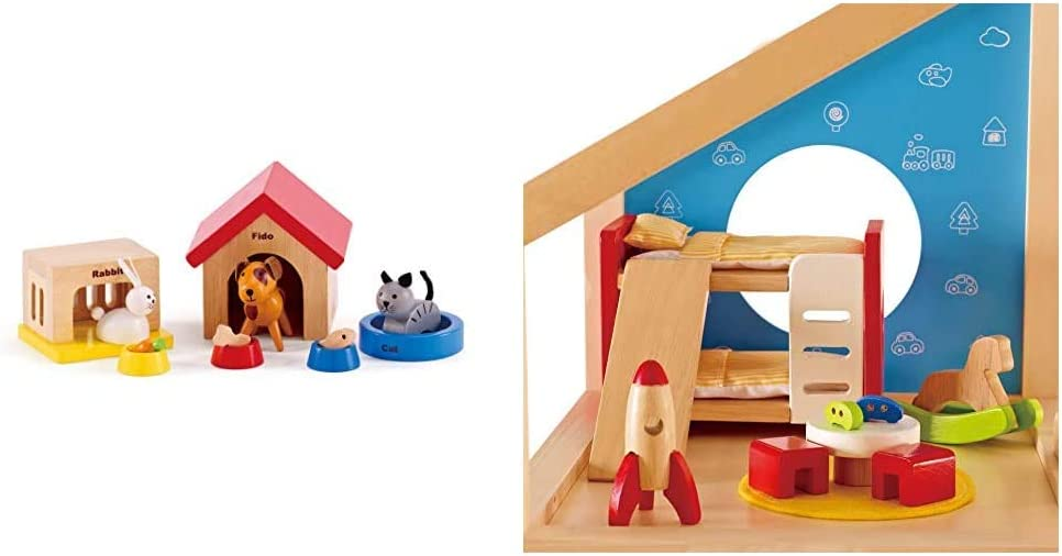 Family Pets Wooden Dollhouse Animal Set by Hape | Complete Your Wooden Dolls House with Happy Dog & Wooden Doll House Furniture Children's Room with Accessories