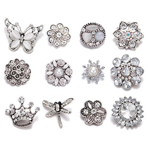 Soleebee 12pcs Alloy Rhinestones Same Color Snap Buttons Jewelry Charms (White) ()