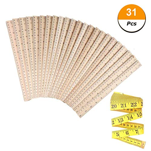 30 PCS Wood Rulers Wooden Ruler Student Rulers School Rulers Office Rulers and Clothing Measuring Rulers, 2Scale (30 cm and 12 inch) by Skedee