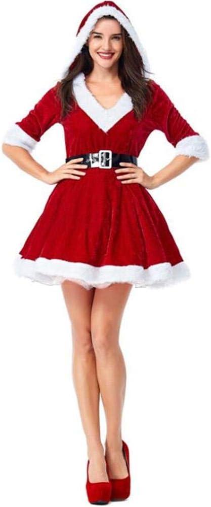 DIVISTAR Disfraz de Cosplay de Navidad para Mujer, Vestido Rojo ...